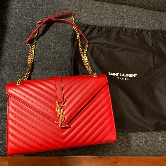 aa1c153fabd Saint Laurent Bags | Authentic Ysl Red Shoulder Bag | Poshmark